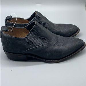 Frye genuine black leather western ankle booties